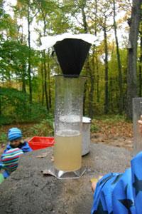 Wasser wird im Kaffeefilter gereinigt