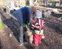 Wir bohren Löcher in die Baumscheibe